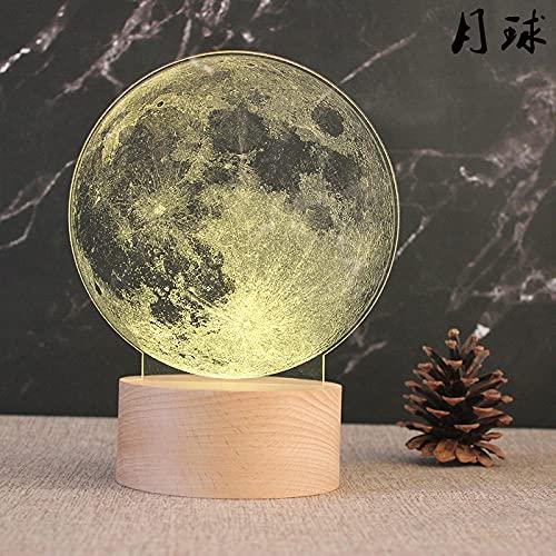Tatapai Luz de noche 3D Luz de noche Base de madera Lámpara de mesa decorativa Light-Plug_Little Prince