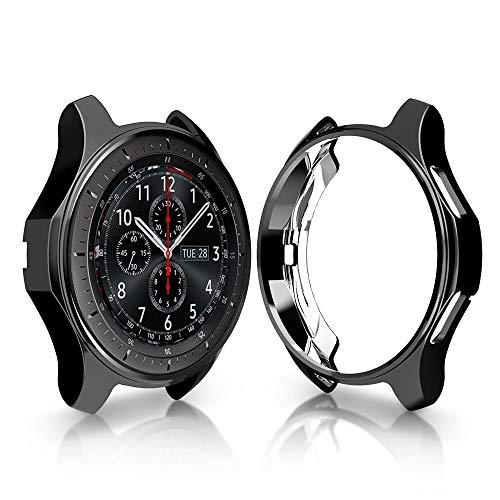 RuenTech Schutzgehäuse für Gear S3 Frontier, SM-R760, galvanisiertes Gehäuse mit Fallschutz, stoßdämpfende Schutzhülle für Gear S3 Smartwatch (schwarz)