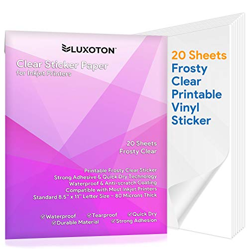 """Clear Sticker Paper for Inkjet Printer - 20 Sheets Frosty Clear Printable Vinyl Transparent Sticker Paper Waterproof Vivid Colors Self Adhesive Label Crafts DIY Project Full Letter Size 8.5""""x11"""""""