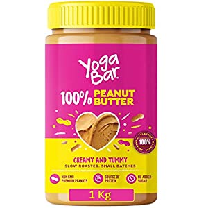 Yogabar 100% Pure Peanut Butter | Creamy & Yummy Unsweetened | Slow Roasted | Non-GMO Premium Peanuts | No Added Sugar 1kg