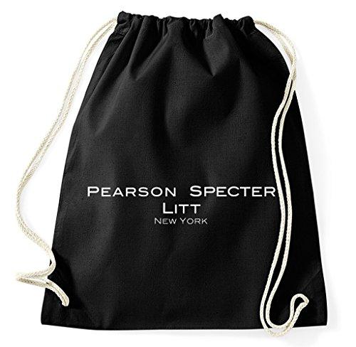 Styletex23 Pearson Specter Litt Suits Logo Turnbeutel Sportbeutel, schwarz