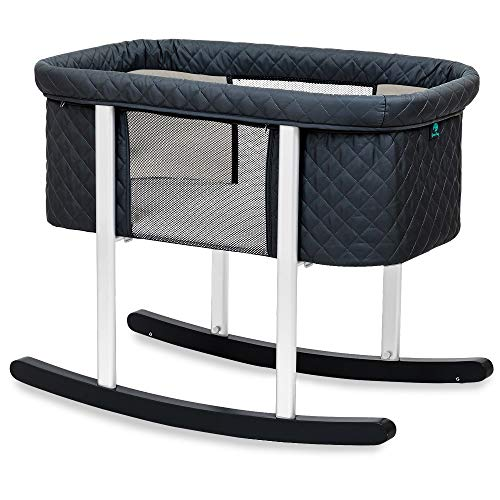 Green Frog Bassinet/Cradle | Gentle Rocking | Mesh Windows | Infant Safe Mattress | Hidden Wheels for Easy Movement | Washable | Lightweight and Transportable (Black (Diamond))