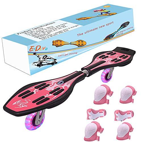 EiDevo Waveboard, Double Wheel Scooter Caster Board mit LED-Blitzrad Wave Board Geburtstagsgeschenk Anti-Rutsch-Schlangenbrett Geeignet für Kinder und Jugendliche Anfänger Skateboard (Rosa)
