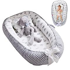 The baby nest lounger is suitable for your baby ages 0-24 months old. All materials used are breathable, washable and hypoallergenic. Made from a combination of 100% soft cotton and high quality elastic pearl cotton material filler. Safe to baby's se...