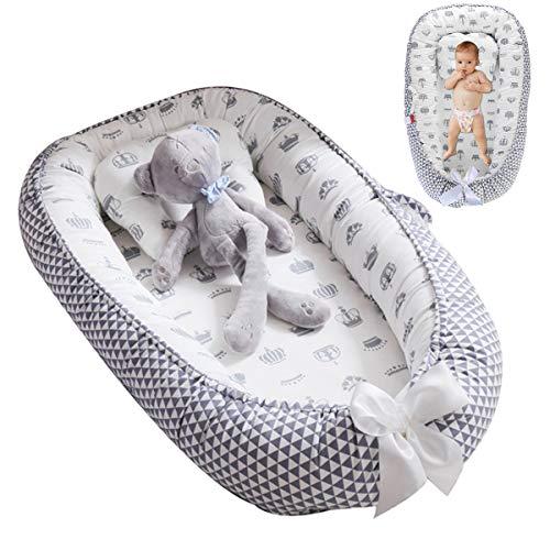 DaMohony - Bebé Cuna Nido Portátil Recién Nacidos Reductora de Cama Cómodo Desmontable Transpirable Tumbona Algodón Suave Bebés Infantiles 0-3 Años
