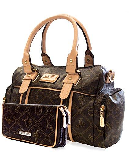 Set: Damentasche + Geldbörse der Marke Giulia Pieralli in 6 (Damen Handtasche + Geldbörse) Umhängetasche (26119E Braun)