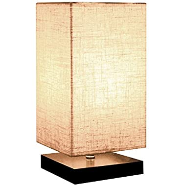 Minerva Minimalist Solid Wood Table Lamp Bedside Desk Lamps Nightstand Lamp with Linen Fabric Shade for Bedroom, Living Room (Square)