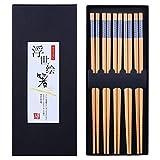 Antner 5 Pairs Bamboo Chopsticks Reusable Japanese Style Chopstick Gift Sets, Classic Natural Bamboo...