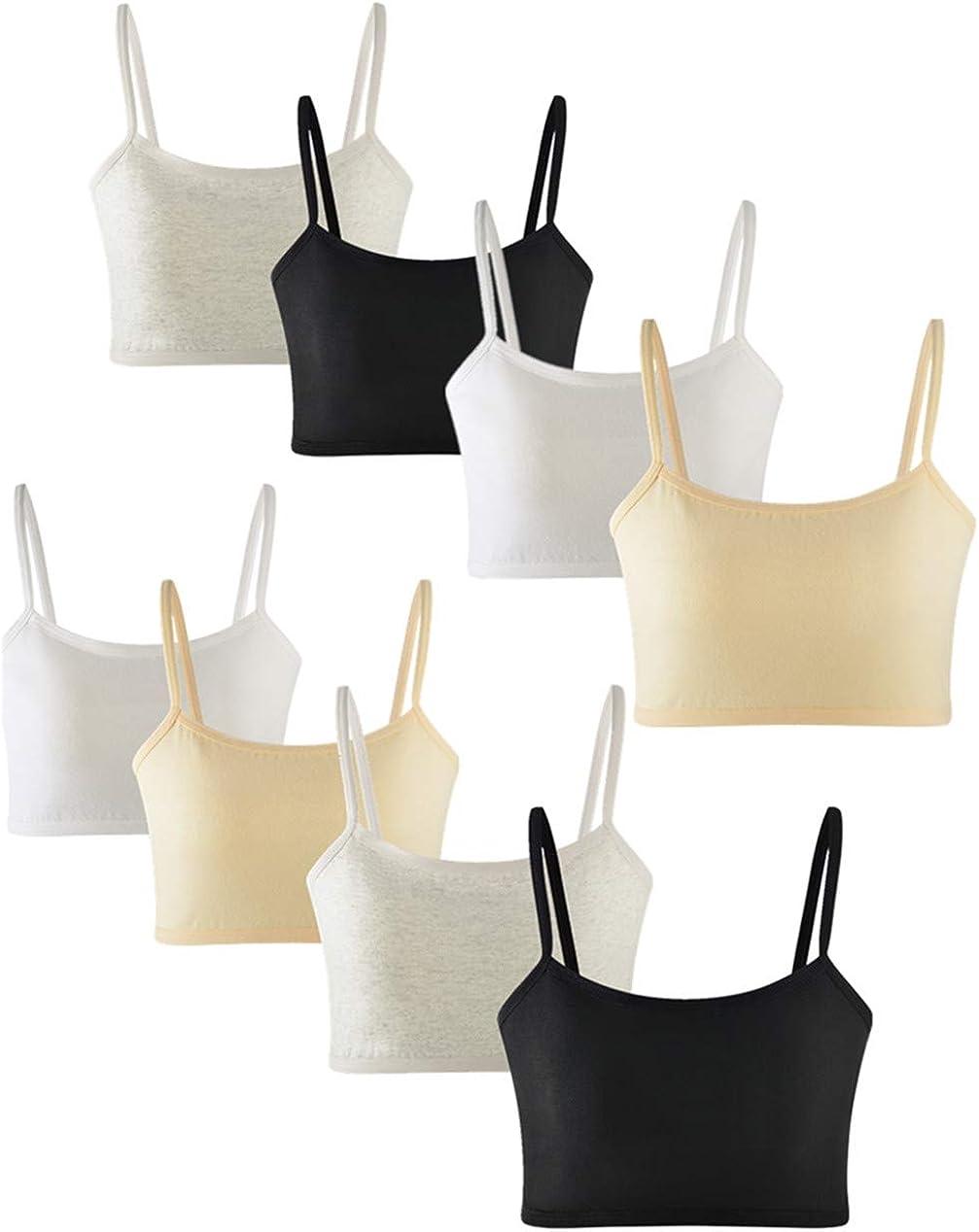 8 Pack Training Bra for Girls 10-12 Cotton Crop Cami Bralette Starter Bras