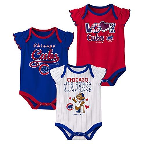 Outerstuff MLB Infants 3pk Onesie Set, Chicago Cubs 18 Months
