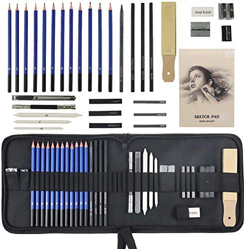 Jacriah 33-Pieces sketching set Drawing Supplies Art Supplies for Adults Complete Artist Kit...
