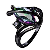 JX Rainbow Horse Eye Zircon Wedding Jewelry Ring Fashion Black Gold Filled Rings for Women Gift Curved Rings (6)