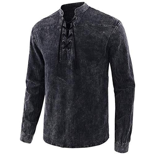 GreatestPAK Vintage Batik T-Shirt Herren Henley-Kragen mittelalterlicher Stil Kostüm neu Lange Ärmel Top,Schwarz,S