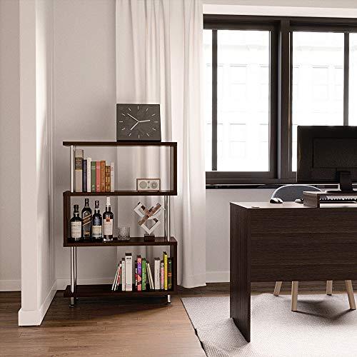 Bestier 4 Shelf Ladder Bookshelf, Hollow-core Board Modern Bookcase Bedroom Storage Shelf, Open S Shaped 4Tier Industrial Bookshelf Book Display Stand for Home Office