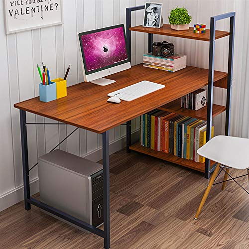 Lovinouse Computer Desk with 4 Tier Shelves, 47.5 Inch Writing Study Table with Reversible Bookshelves, Office Steel X Frame Modern Tower PC Tables (47.5 x 24 Inch with CPU Stand, Brown)