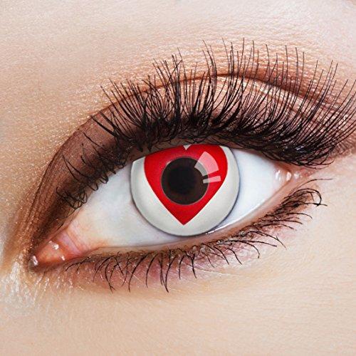 aricona Kontaktlinsen - Weiße Kontaktlinsen mit rotem Herz-Motiv - Farbige Kontaktlinsen ohne Stärke für Halloween, Karneval, Fasching, Cosplay, 2 Stück