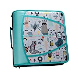 Case-It T641P Zipper Binder, 3-Inch Capacity, with 5-Tab Expanding File, Zip Mesh Pocket, Shoulder Strap, Doodle Creatures Mint Green