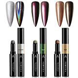 TOMICCA 2020 Magic Chrome Nail Powder Pen, Holographic Glitter Nail Powder Pen, Acrylic Powder Laser Effect, Rainbow Holo Nail Art Powder Decoration Pen, Mirror Effort, 3 Packs
