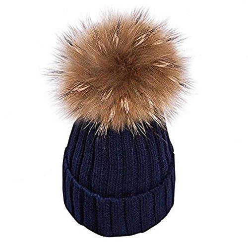 Warm Mütze Pelz Bommel Echtpelz Waschbär Ski-Mütze Fellbommel Pelzbommel Raccoon (navy blau)