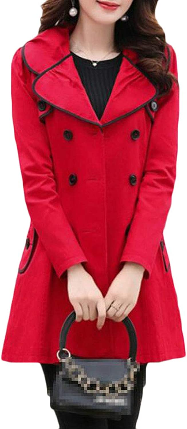 Cromoncent Women's Graceful Lapel Pleated DoubleBreasted Slim Trench Coat Jacket