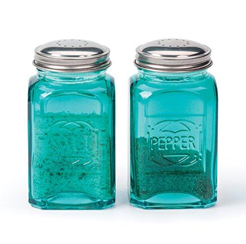 RSVP International (RET-T) 8 oz Retro Glass Salt & Pepper Shakers, Turquoise   Stainless Steel Lids  , 13 oz