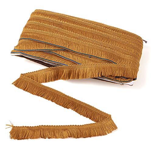 Beadthoven - Cinta de encaje de fibra de poliéster de 2,5 cm, borde de borla de flecos de 27 yardas para coser acolchados, decoración del hogar, DarkGoldenrod