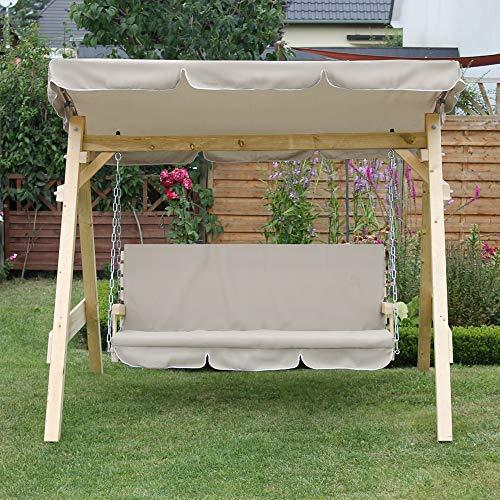 Oskar-Store Hollywoodschaukel Audrey Holz Gartenschaukel Schaukel Gartenmöbel 3-Sitzer (Beige) - 6