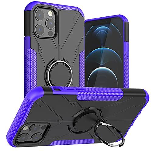 Fundas Carcasa de telefono para iPhone12 Pro MAX Caja del teléfono móvil iPhone12 Mini Soporte de Anillo Anti caída Coche magnético,Purple,iPhone12mini