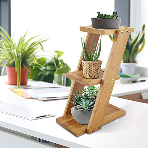 SOONHUA Mini Bamboo Plant Flower Stand,3-Tier Plant Display Ladder Shelf Flower Pot Storage Rack Display Shelving Unit Holder for Indoor and Outdoor Use Decor