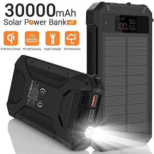 Solarladegerät, 30000 mAh LED-Display Power Bank mit 18 W Schnellladung, Zwei USB-Ausgängen, kabellosem Qi-Ladegerät und externen Akkus vom Typ C für zu Hause, Camping, Wandern, Notfall, drinnen