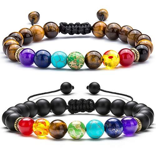 Hamoery Men Women 8mm Lava Rock Chakra Beads Bracelet Set Braided Rope Natural Stone Yoga Bracelet Bangle (Set 5)