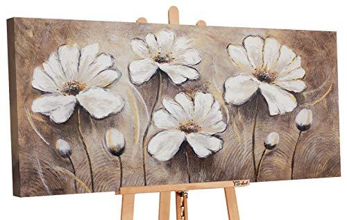 YS-Art | Cuadro Pintado a Mano Flores favoritas II | Cuadro Moderno acrilico| 120x60 cm | Lienzo Pintado a Mano | Cuadros Dormitories | único | Castaño