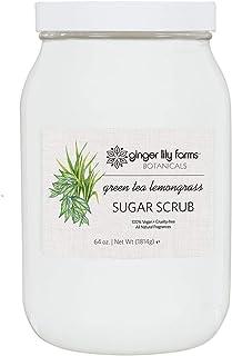 Ginger Lily Farms Botanicals Green Tea Lemongrass Sugar Scrub, All-Natural Skin Exfoliating Sugar Crystals, Vegan & cruelt...