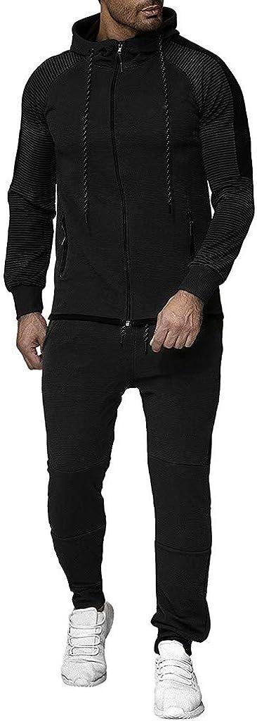 F_Gotal Men Tracksuit Set Full Zip Gradient Patchwork Sweatshirt Jogger Sweatpants Warm Sports Suit Gym Training Wear