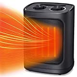 Kismile Portable Electric Space Heater, Small Ceramic Heater Fan with Thermostat, Tip-Over and Overheat Protection,Fast Heating for Home/Office