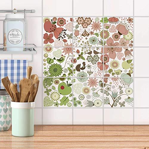 creatisto Mosaikfliesen für Bad und Küche I Fliesen Sticker Aufkleber wiederablösbar I Fliesen verschönern - Fliesenspiegel für Bad- und Küchenfliesen I Design: Flower Pattern