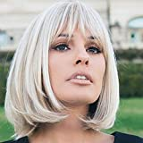HAIRCUBE Charming Creamy White Short Bob Wigs with Bangs Synthetic Heat Resistant 12 Inch Wigs for Women