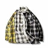 Camisa Informal de Manga Larga para Hombre, Color a Cuadros, Costura a Juego, Suelta, de Gran tamaño, cómoda y versátil, Camisa de Moda L