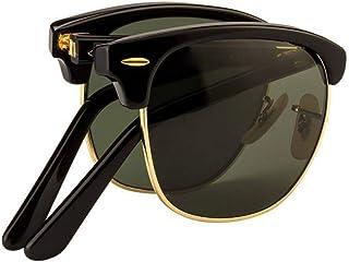 unisex black folding sunglasses with green lenses