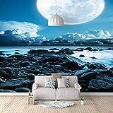 Papel Pintado 3D Murales Agua de luna azul- Fotomurales Para Salón Natural Landscape Foto Mural Pared, Dormitorio Corredor Oficina Moderno Festival Mural 150x105 cm - 3 tiras