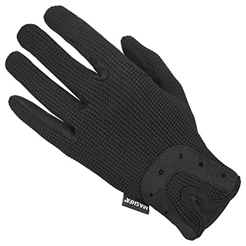 Mashfa Horse Riding Gloves Cotton Dublin Track Fabric Shires Gloves Leather Equestrian (Small)