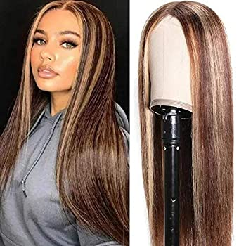 UNice Ombre Highlight Wig Straight T Part Lace Human Hair Wigs Middle Part Brazilian Remy Hair Blonde Human Hair Wig Pre Plucked for Women 150% Density 24inch