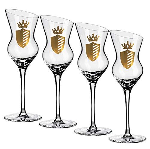 Prime Presents Grappagläser 4er Set Branntwein-Gläser für Obstler-Williams Schnaps & Liköre Schnapsgläser Obstbrandgläser Kristall-Glas geschrägter Rand Grappa-gläser