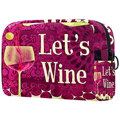 Trousse de maquillage compacte Sacs à cosmétiques de voyage portables Trousse de toilette,vin un peu raisins vin de pays rouge boissons petit