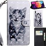 DodoBuy 3D Hülle für Samsung Galaxy A20/A30, Flip PU Leder Schutzhülle Handy Tasche Brieftasche Wallet Case Cover Ständer mit Kartenfächer Trageschlaufe Magnetverschluss - Katze