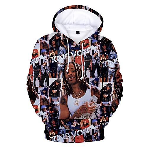 3D Printed King Von Hoodie Rip Rapper Merch King Von Hoodie OTF O Block Pullover Sweatshirt Tracksuit for Kids Men Women (King Von5,L)