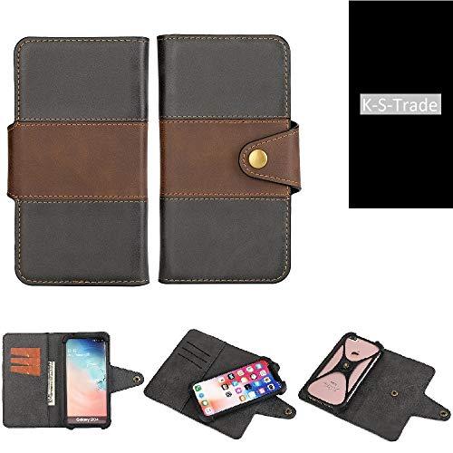 K-S-Trade Handy-Hülle Schutz-Hülle Bookstyle Wallet-Hülle Für Ruggear RG650 Bumper R&umschutz Schwarz-braun 1x