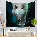 #Wandteppich #Wolf #Wolfskopf #weiss-grün ca. 130x150 oder 150x200cm