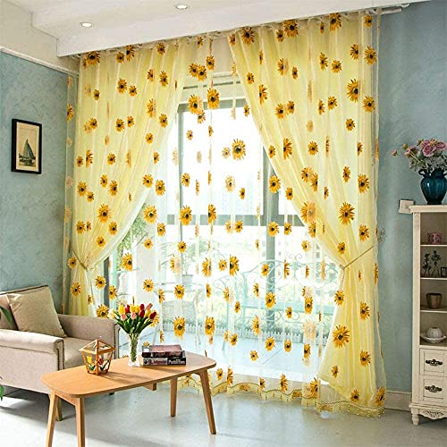 2PCS Sunflower Curtains Kitchen Decor Yellow Sheer Curtains for Small Window Voile Room Scarf Door Bed Drape Panels for Bedroom Living Room Floral Drape Panel