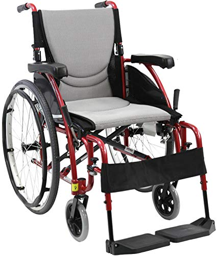 Karman Healthcare S-Ergo 115 20' Seat Width, Ultra Lightweight Ergonomic Wheelchair, Fixed Wheels - 25 lbs in Rose Red